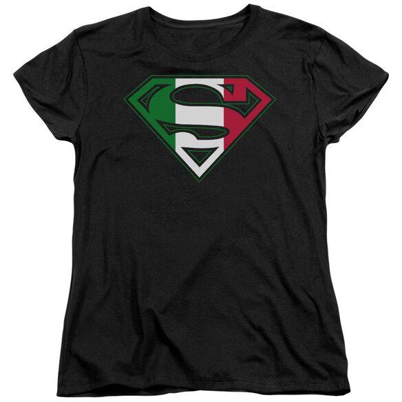 SUPERMAN ITALIAN SHIELD - S/S WOMENS TEE - BLACK T-Shirt