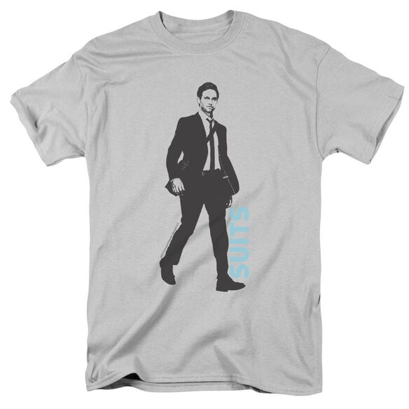 Suits Walking Short Sleeve Adult Silver T-Shirt