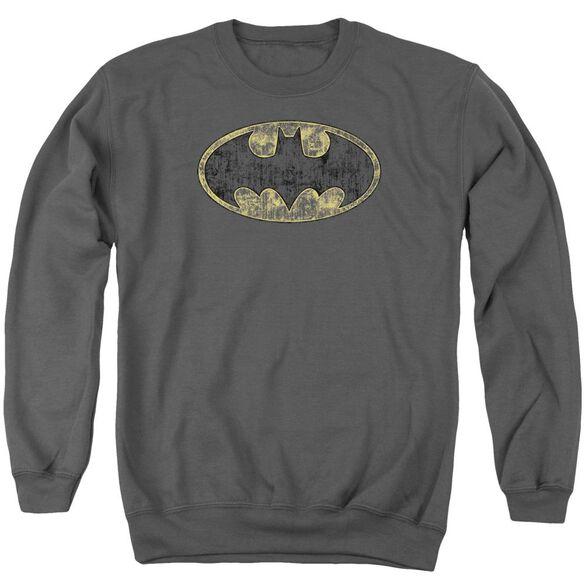 Batman Tattered Logo Adult Crewneck Sweatshirt