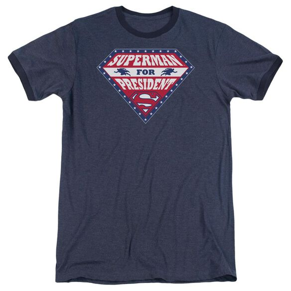 Superman Superman For President - Adult Heather Ringer - Navy