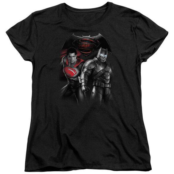 Batman V Superman Stand Off Short Sleeve Womens Tee T-Shirt