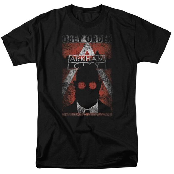 ARKHAM CITY OBEY ORDER POSTER - S/S ADULT 18/1 - CHARCOAL T-Shirt