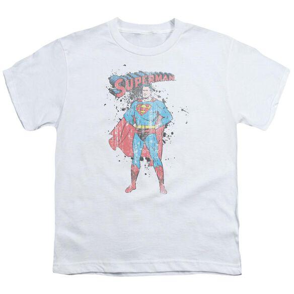 Superman Vintage Ink Splatter Short Sleeve Youth T-Shirt