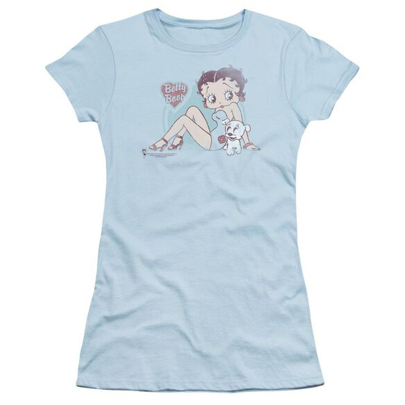 Betty Boop Vintage Pin Pup Short Sleeve Junior Sheer Light T-Shirt
