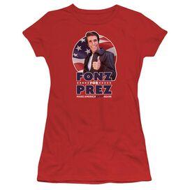 Happy Days Fonz For Prez Short Sleeve Junior Sheer T-Shirt
