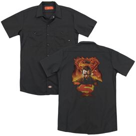 Superman Man On Fire (Back Print) Adult Work Shirt