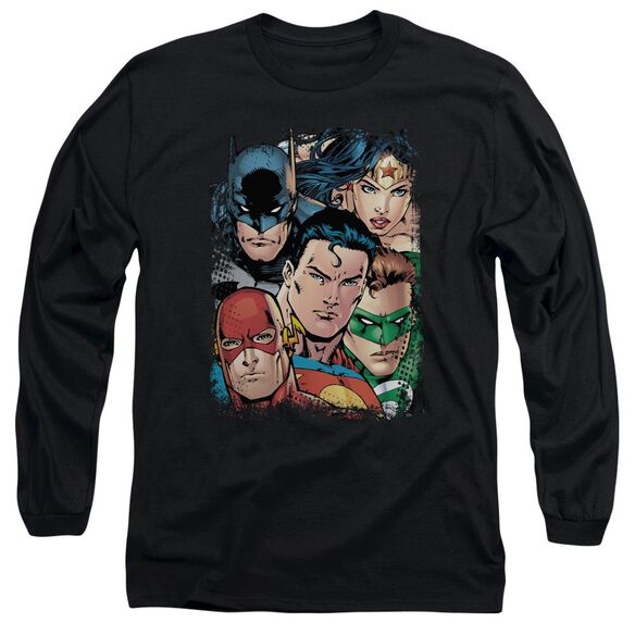 Jla Up Close And Personal Long Sleeve Adult T-Shirt
