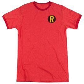 Dc Robin Logo Adult Heather Ringer Red