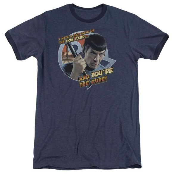 Star Trek Pon Far Adult Heather Ringer Navy