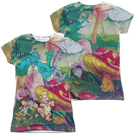 Dragon Tales Mushroom Meadow (Front Back Print) Short Sleeve Junior Poly Crew T-Shirt