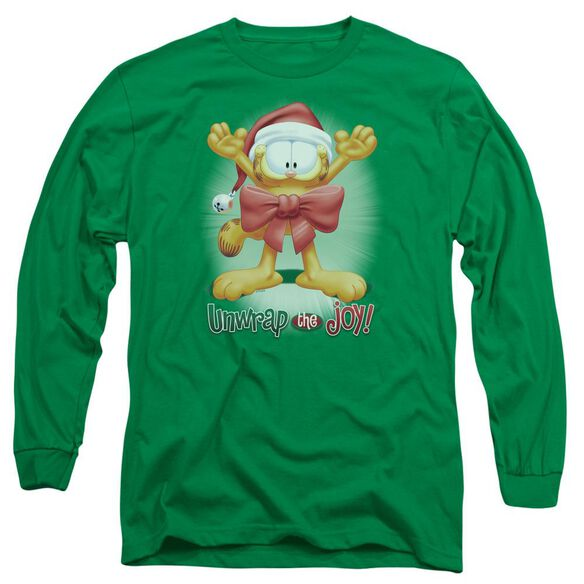Garfield Unwrap The Joy! Long Sleeve Adult Kelly T-Shirt