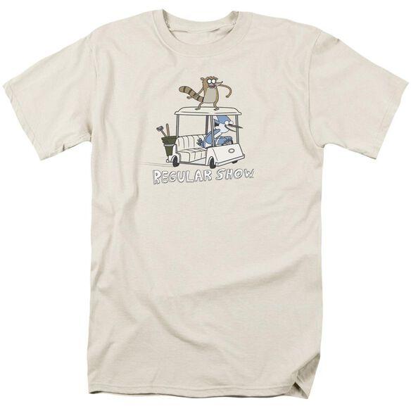 Regular Show Golf Cart Short Sleeve Adult Cream T-Shirt