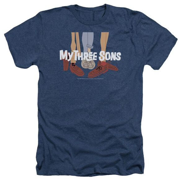 MY THREE SON HOES LOGO - ADULT HEATHER - NAVY T-Shirt