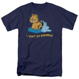 Garfield I Dont Do Mornings Short Sleeve Adult Navy T-Shirt