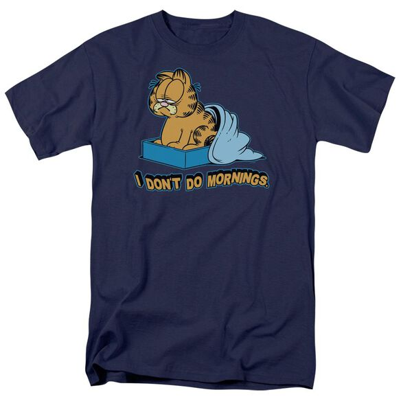 Garfield I Dont Do Mornings Short Sleeve Adult Navy T-Shirt