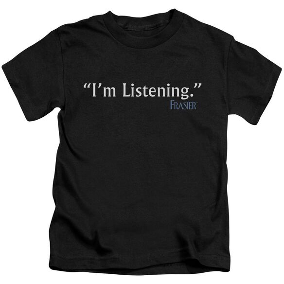 Frasier I'm Listening Short Sleeve Juvenile Black T-Shirt