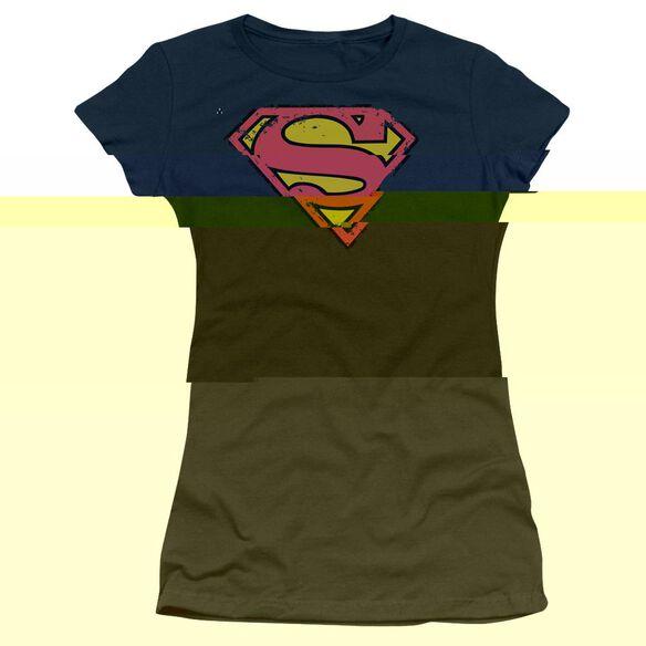 SUPERMAN DISTRESSED SHIELD - S/S JUNIOR SHEER - NAVY T-Shirt