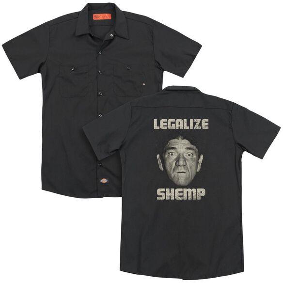Three Stooges Legalize Shemp (Back Print) Adult Work Shirt