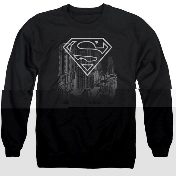 Superman Skyline - Adult Crewneck Sweatshirt - Black
