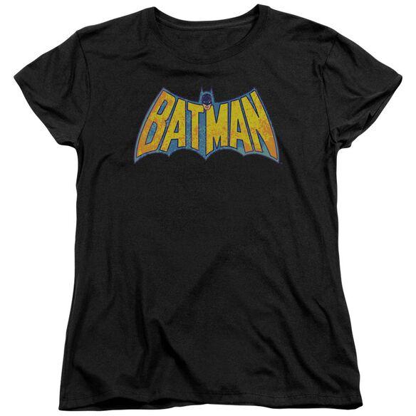 Dco Batman Neon Distress Logo Short Sleeve Womens Tee T-Shirt