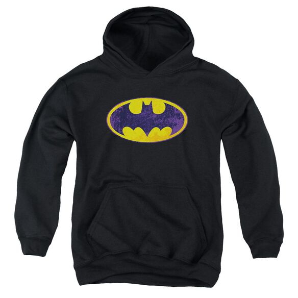 Batman Bm Neon Distress Logo Youth Pull Over Hoodie