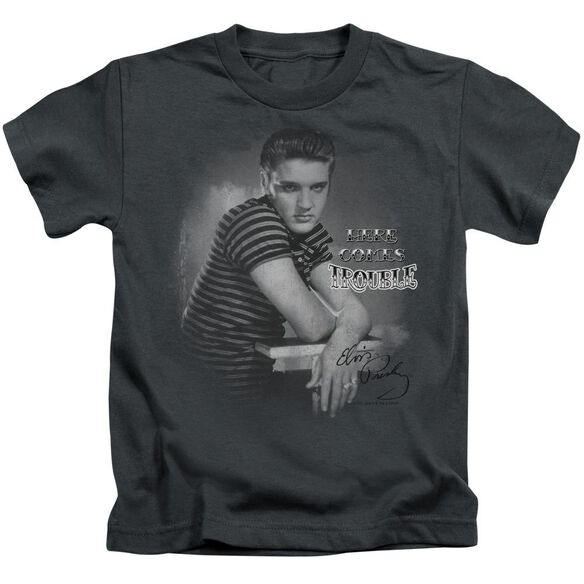 Elvis Trouble Short Sleeve Juvenile Charcoal T-Shirt