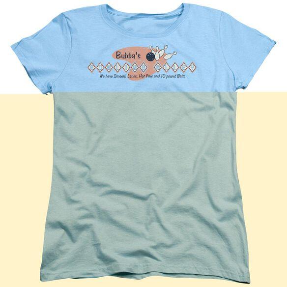 BUBBAS BOWLING ALLEY - WOMENS TEE - LIGHT BLUE T-Shirt