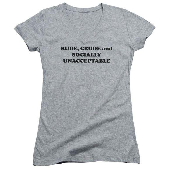 Socially Unacceptable Junior V Neck Athletic T-Shirt
