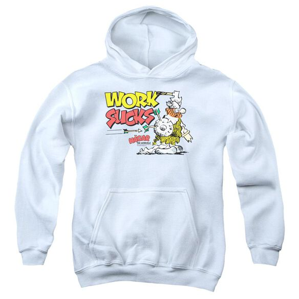Hagar The Horrible Work Sucks Youth Pull Over Hoodie