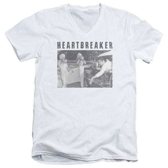 Elvis Heartbreaker Short Sleeve Adult V Neck T-Shirt
