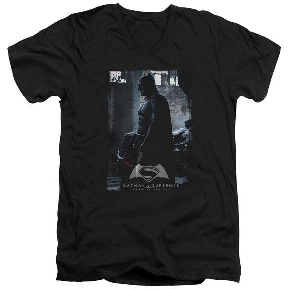 Batman V Superman Bat Poster Short Sleeve Adult V Neck T-Shirt