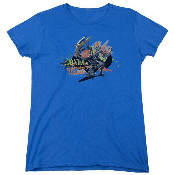 Dark Knight Rises Back In The Game Short Sleeve Womens Tee Royal Blue T-Shirt