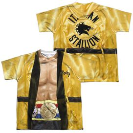 Rocky Yellow Robe (Front Back Print) Short Sleeve Youth Poly Crew T-Shirt