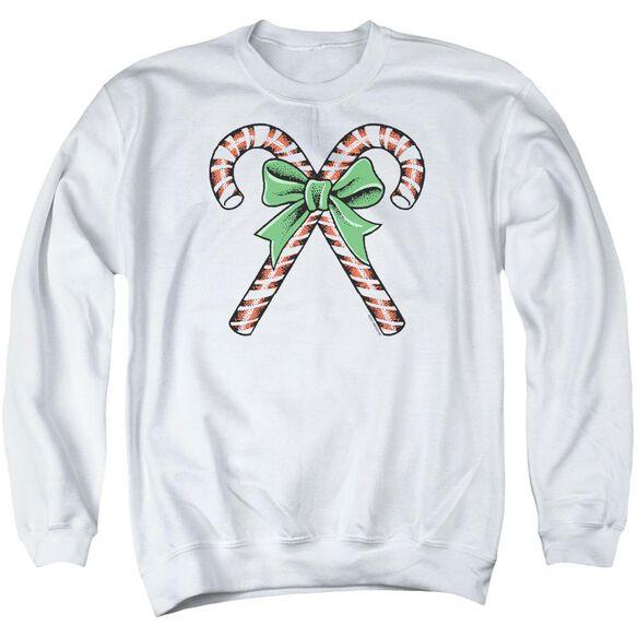 Candy Canes - Adult Crewneck Sweatshirt - White