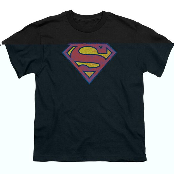 SUPERMAN SM NEON DISTRESS LOGO - S/S YOUTH 18/1 - BLACK T-Shirt