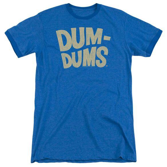 Dum Dums Distressed Logo Adult Heather Ringer Royal Blue