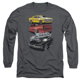 FAST AND THE FURIOUS MUSCLE CAR SPLATTER - L/S ADULT 18/1 - CHARCOAL T-Shirt