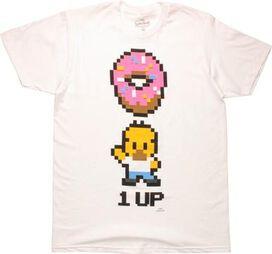 Simpsons Homer Simpson 8 Bit 1 Up Donut T-Shirt