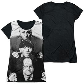 Three Stooges Three Stacked Short Sleeve Junior Poly Black Back T-Shirt