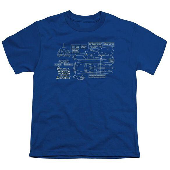 Batman Batmobile Short Sleeve Youth Royal T-Shirt
