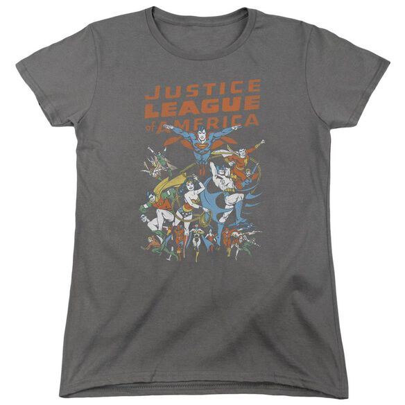 Jla Big Group Short Sleeve Womens Tee T-Shirt