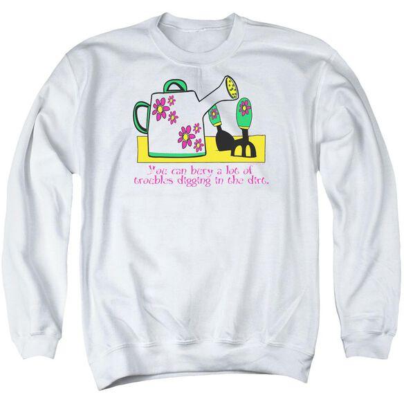 Garden Burying Troubles - Adult Crewneck Sweatshirt - White