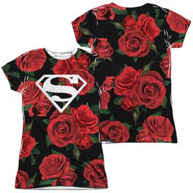 Superman Super Floral (Front Back Print) Short Sleeve Junior Poly Crew T-Shirt