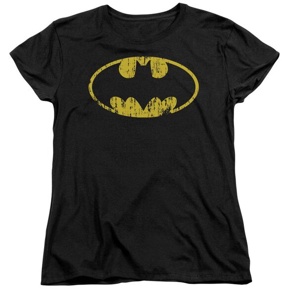 Batman Classic Logo Distressed Short Sleeve Womens Tee T-Shirt