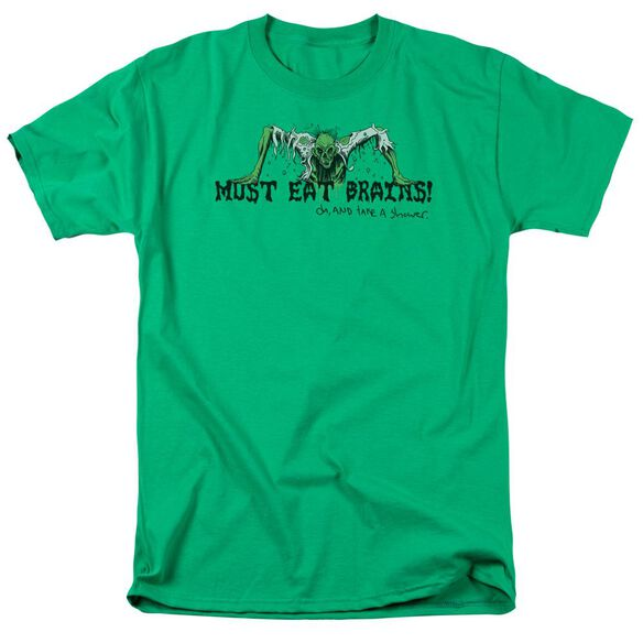 MUST EAT BRAINS - ADULT 18/1 - KELLY GREEN T-Shirt
