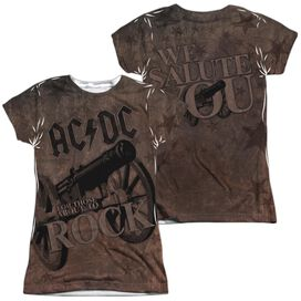 Acdc We Salute You (Front Back Print) Short Sleeve Junior Poly Crew T-Shirt