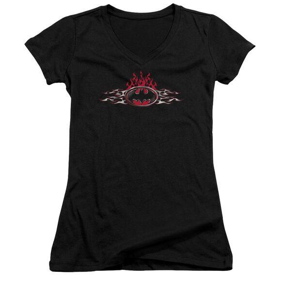 Batman Steel Flames Logo Junior V Neck T-Shirt