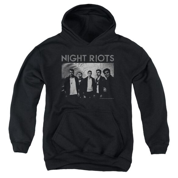 Night Riots Greyscale Youth Pull Over Hoodie