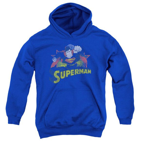 Jla Superman Rough Distress Youth Pull Over Hoodie