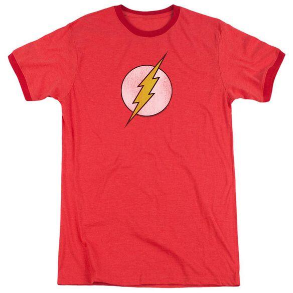 Dc Flash Flash Logo Distressed Adult Ringer